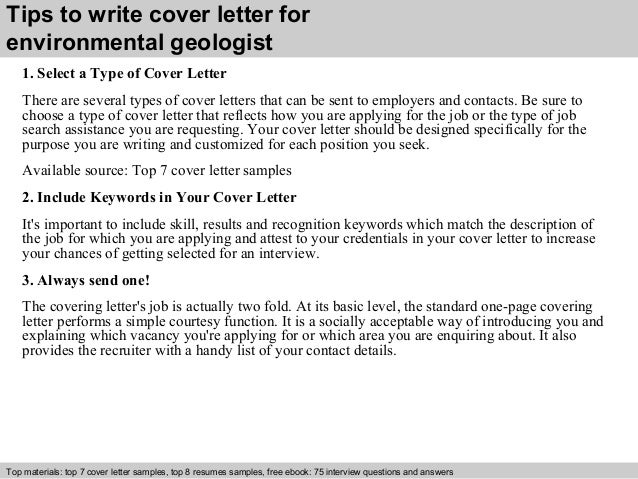 3 tips to write cover letter for environmental geologist - Geologist Cover Letter