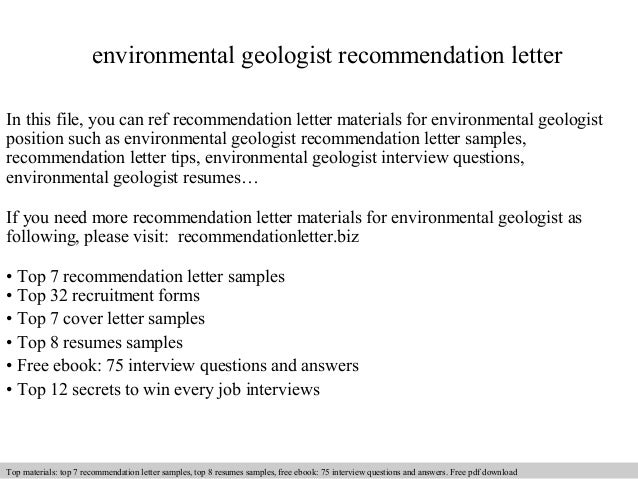 Environmental Geologist Recommendation Letter