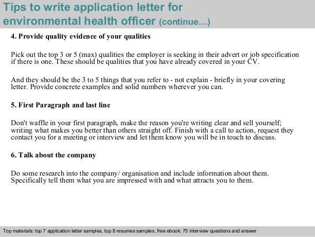 Environmental Health Officer Application Letter