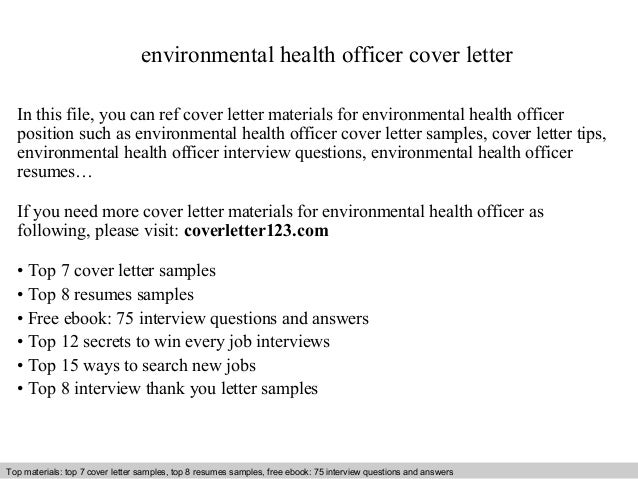 Environmental Health Officer Cover Letter In This File, You Can Ref Cover  Letter Materials For Cover Letter Sample ...