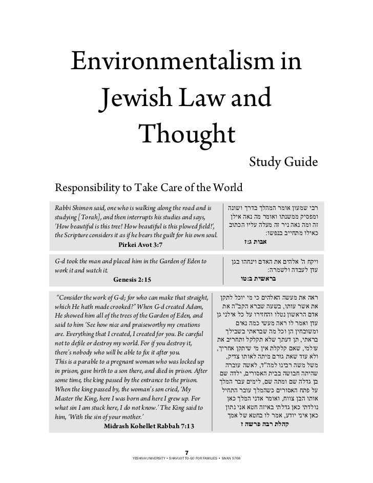 Environmentalism in        Jewish Law and           Thought                                                               ...