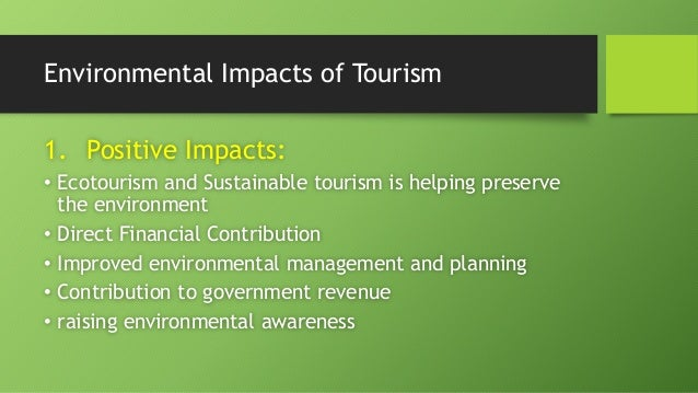 environmental implications of the tourism industry Tourism inevitably leads to development - even in ecotourism efforts when natural areas become popular in the travel industry, they usually become the site of hotels, excavations and other.