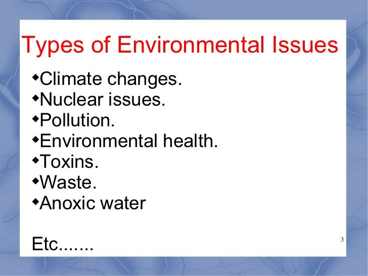 the issue of pollution in the environment Air pollution is by far the most harmful form of pollution in our environment air pollution is cause by the injurious smoke emitted by cars, buses, trucks, trains, and factories, namely sulphur dioxide, carbon monoxide and nitrogen oxides.