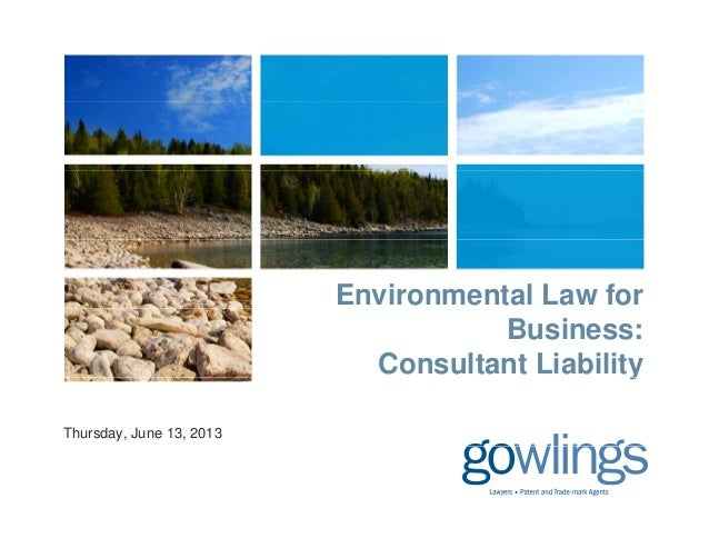 Environmental Law forBusiness:Consultant LiabilityyThursday, June 13, 2013
