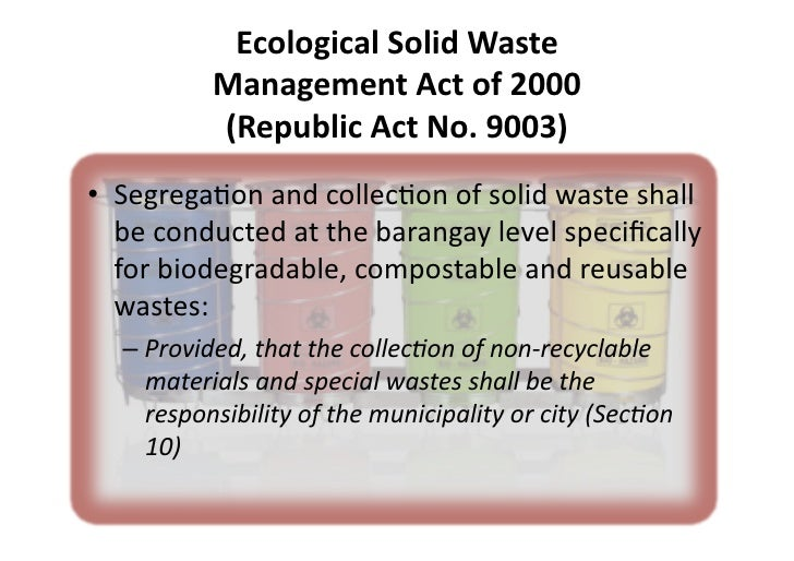 ecological solid waste management thesis A 2007 study by the goddard institute of space studies and the earth engineering center (eec) of columbia university established that the amount of solid wastes generated in a particular nation followed closely the consumption of energy.