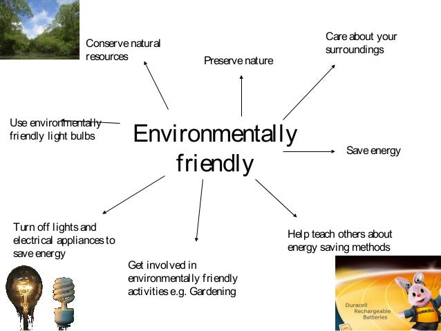 Environmentally friendly Careabout your surroundings Saveenergy Help teach othersabout energy saving methods Preservenatur...