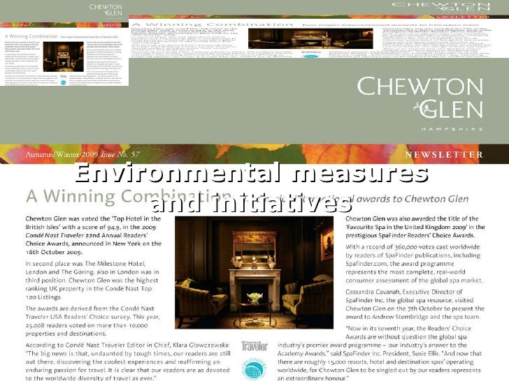 Environmental measures and initiatives