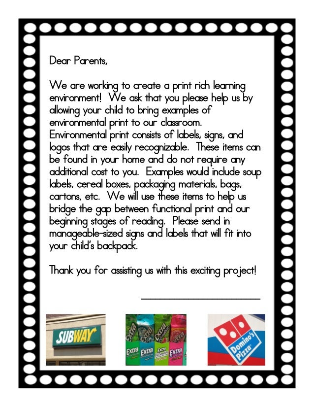 Environmental Print Letter