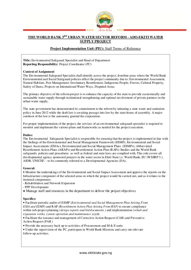 www.ekitistate.gov.ngTHE WORLD BANK 3RDURBAN WATER SECTOR REFORM - ADO-EKITI WATERSUPPLY PROJECTProject Implementation Uni...
