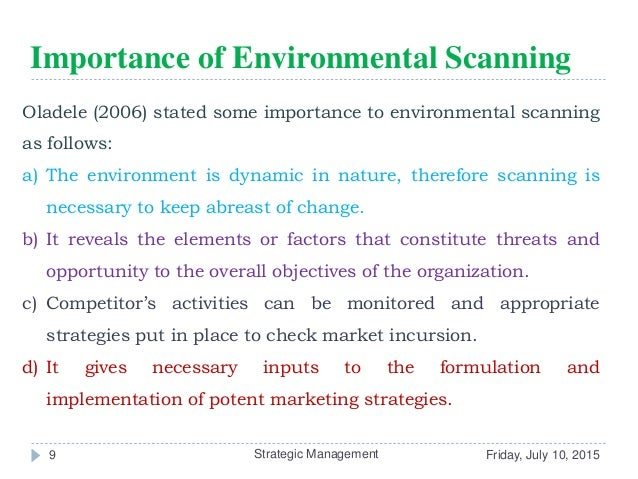why is environmental scanning necessary