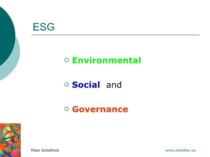 ESG                      Environmental                      Social and                      GovernancePeter Schellinck ...