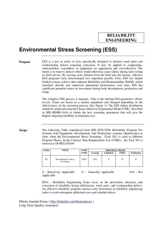 RELIABILITY                                                                       ENGINEERINGEnvironmental Stress Screenin...