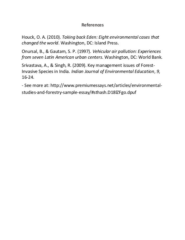 environmental studies and forestry sample essay 5