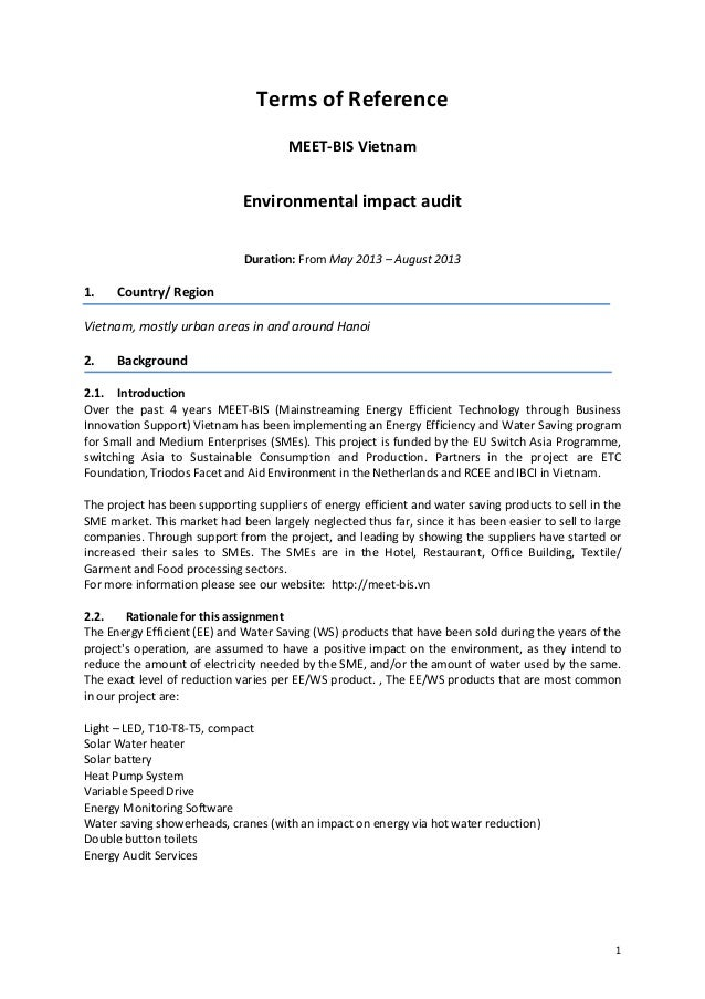 Terms of Reference                                      MEET-BIS Vietnam                              Environmental impact...