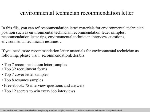 Environmental technician recommendation letter