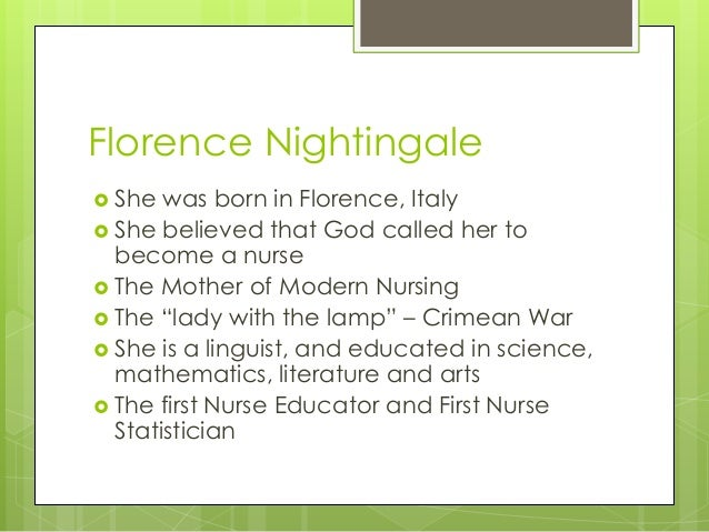 florence nightingale 4 essay In the 1800's an effort to redefine nursing, by improving upon patient care, florence nightingale stands as the patron leader she went onto grapple with the task of improving upon deplorable hospital conditions while, measuring patient's outcomes in a statistical method.