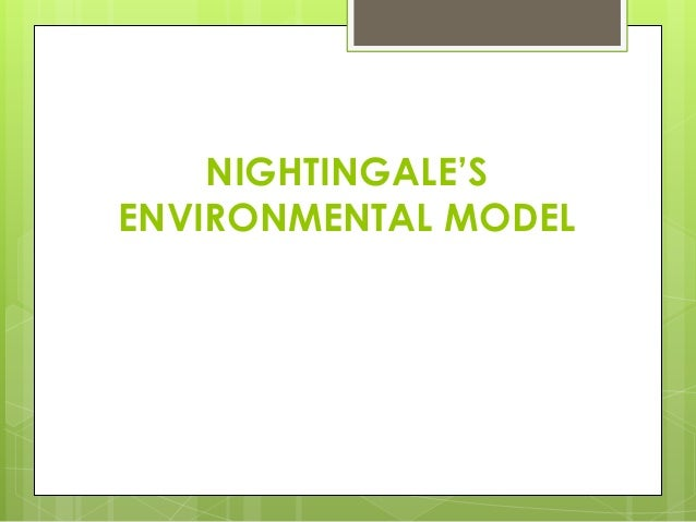 environmental theory Canons of nightingale's environmental theory, i came to know that few aspects of physical environment was ignored which pushed the patient to critical situation.
