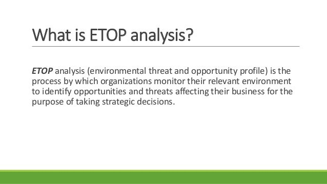 Environmental threat opportunity profile (etop).