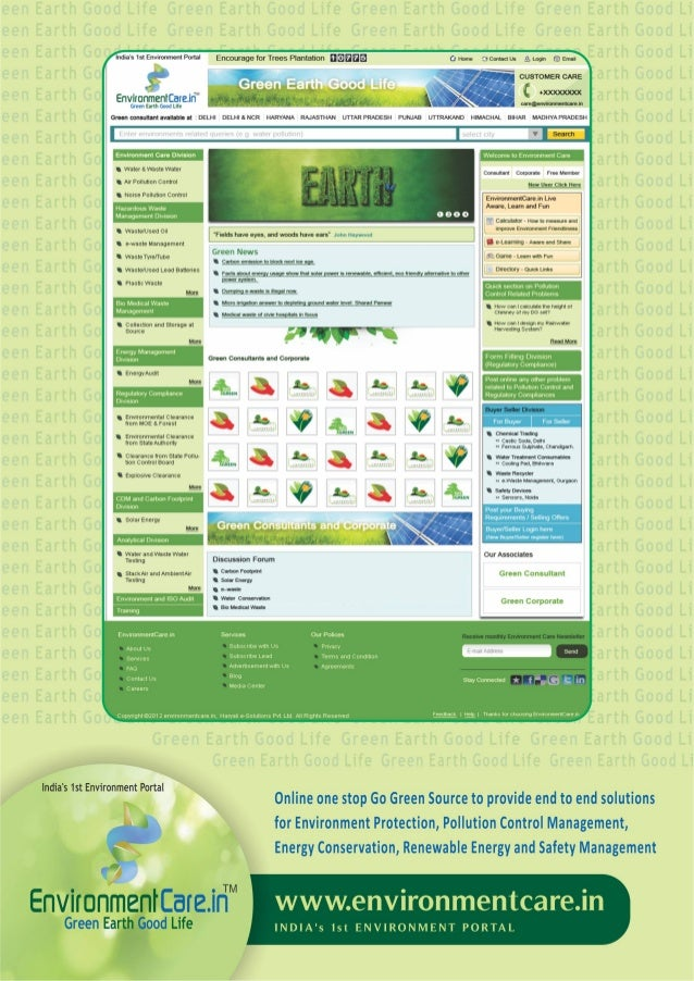 Environment care.in   india's1st b2b environmental portal. it's provide environment related service and solutions.