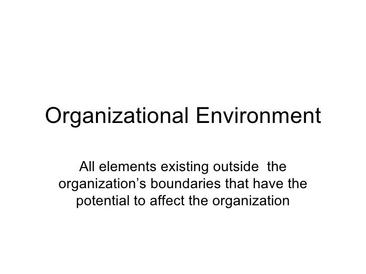 Organizational Environment All elements existing outside  the organization's boundaries that have the potential to affect ...