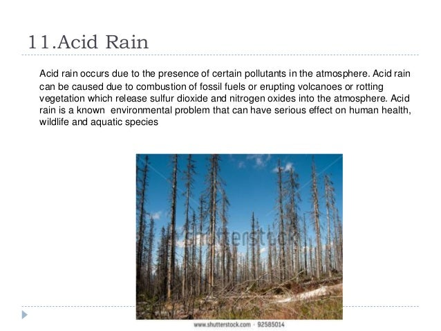 a report on the serious issue of acid rain By the 1970s, acid rain had become a widespread problem in the united states  and  increasing emissions of nitrogen oxides are a second major cause, as are  volatile  according to a 2012 report in scientific american, emissions from.