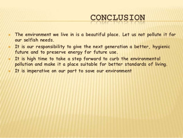 conclusion of environment project