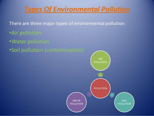 three major types of environmental pollution Different types of environmental pollution pollution is one of the largest problems face by our planet in recent times three major types of environmental pollution.