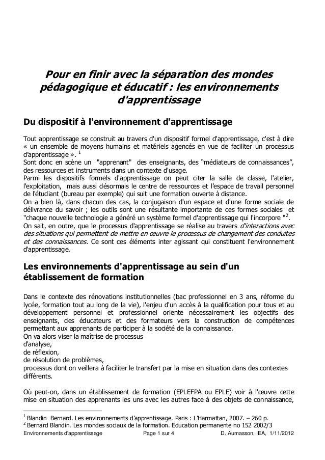 Pour en finir avec la séparation des mondes        pédagogique et éducatif : les environnements                        dap...