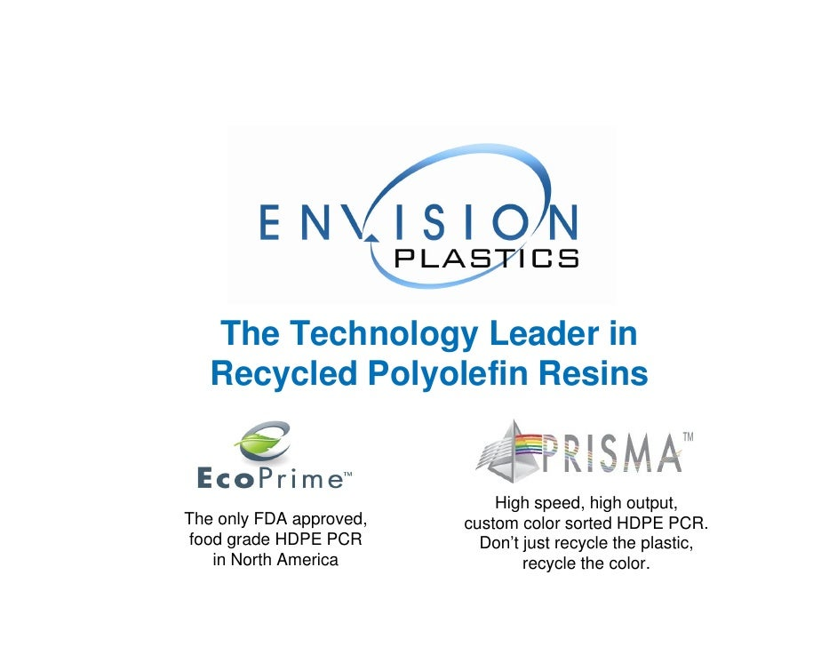 The Technology Leader in    Recycled Polyolefin Resins                                High speed, high output, The only FD...