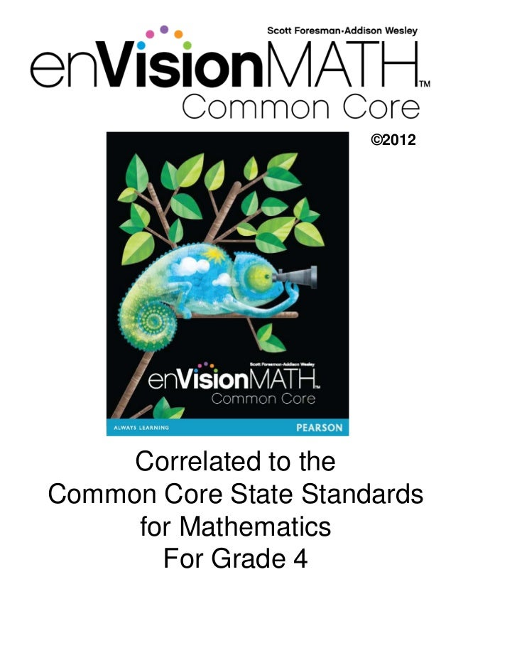 ©2012     Correlated to theCommon Core State Standards     for Mathematics       For Grade 4