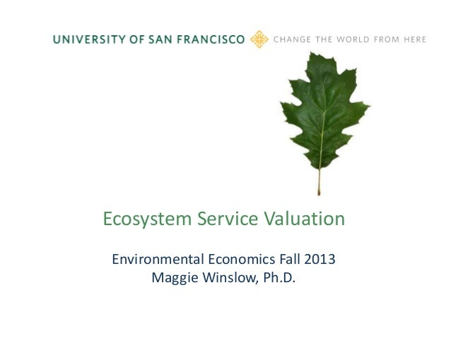 Ecosystem Service Valuation Environmental Economics Fall 2013 Maggie Winslow, Ph.D.