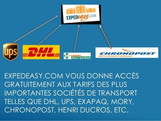 EXPEDEASY.COM VOUS DONNE ACCÈS GRATUITEMENT AUX TARIFS DES PLUS IMPORTANTES SOCIÉTÉS DE TRANSPORT TELLES QUE DHL, UPS, EXA...
