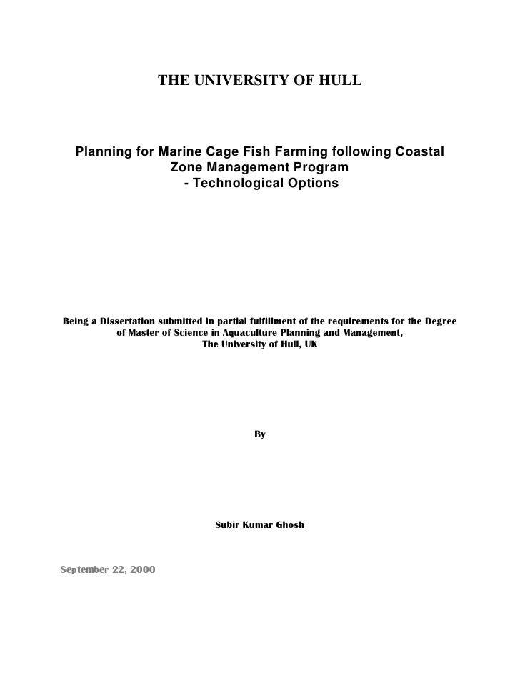 THE UNIVERSITY OF HULL                Planning for Marine Cage Fish Farming following Coastal                           Zo...