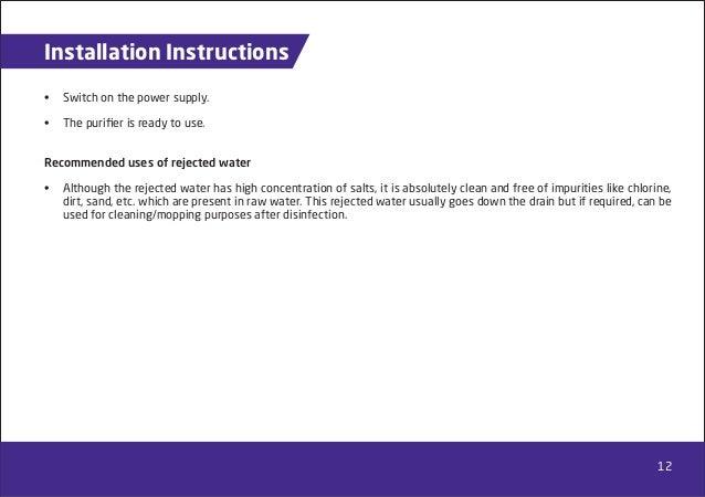 water purifier installation instructions