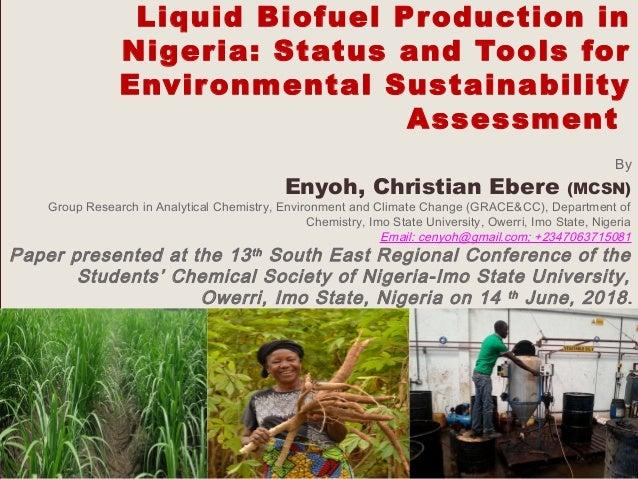 LIQUID BIOFUEL PRODUCTION IN NIGERIA: STATUS AND TOOLS FOR ENVIRONMEN…