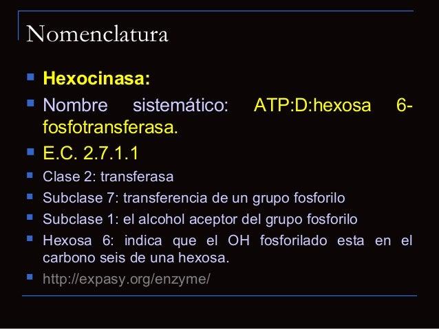 Nomenclatura Hexocinasa: Nombre sistemático: ATP:D:hexosa 6-fosfotransferasa. E.C. 2.7.1.1 Clase 2: transferasa Subcl...
