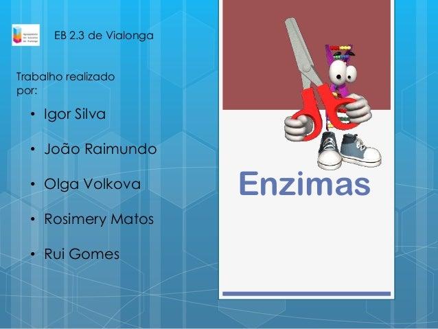 Enzimas• Igor Silva• João Raimundo• Olga Volkova• Rosimery Matos• Rui GomesEB 2.3 de VialongaTrabalho realizadopor: