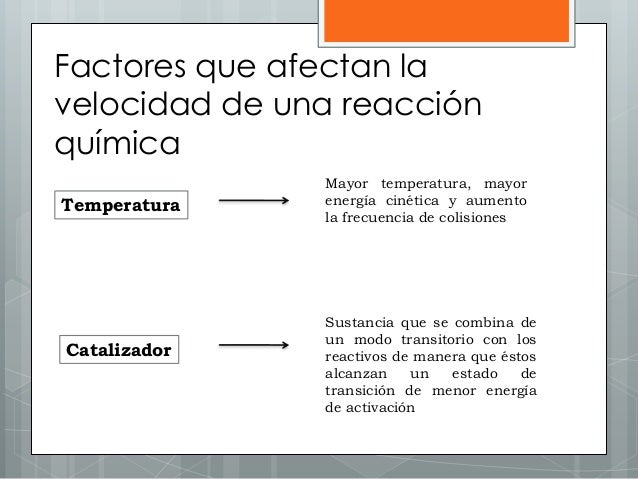 Factores que afectan la velocidad de una reacción química Temperatura Mayor temperatura, mayor energía cinética y aumento ...