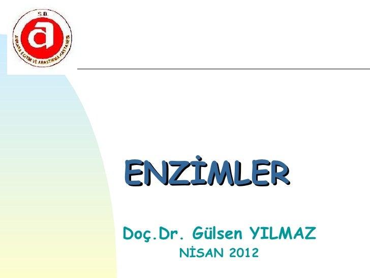 ENZİMLERDoç.Dr. Gülsen YILMAZ      NİSAN 2012
