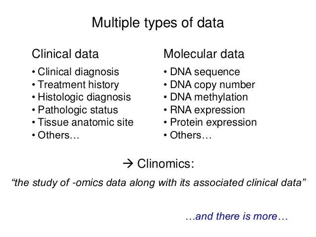 Multiple types of data Clinical data • Clinical diagnosis • Treatment history • Histologic diagnosis • Pathologic status •...