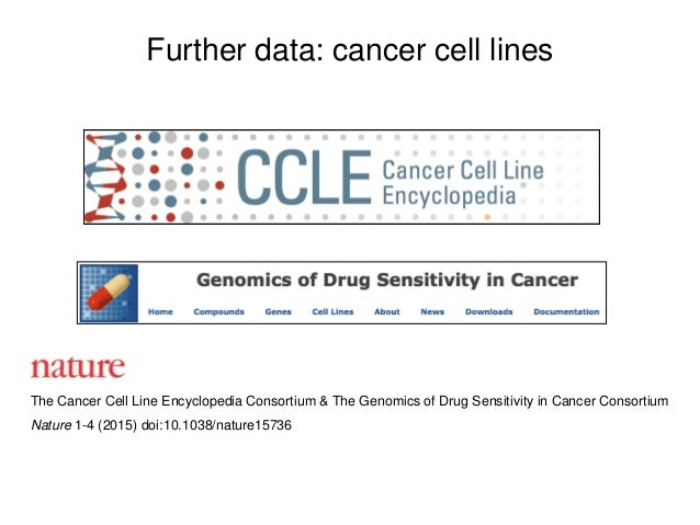Further data: cancer cell lines The Cancer Cell Line Encyclopedia Consortium & The Genomics of Drug Sensitivity in Cancer ...