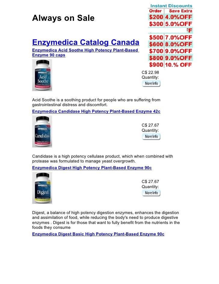 Always on Sale  Enzymedica Catalog Canada Enzymedica Acid Soothe High Potency Plant-Based Enzyme 90 caps                  ...