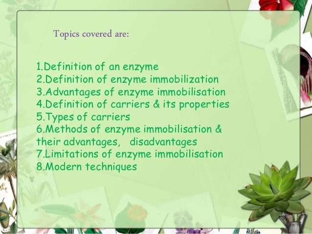 Immobilisation of enzymes