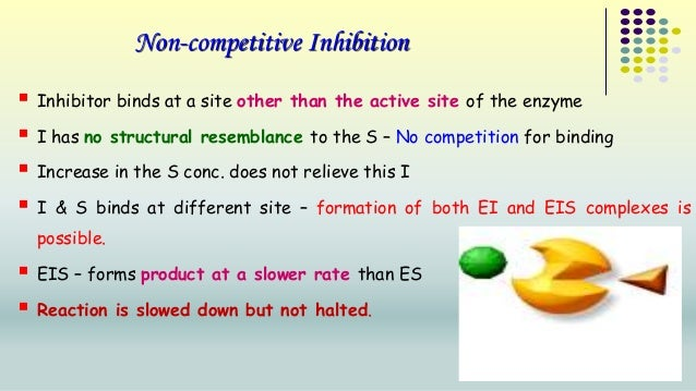 Non-competitive Inhibition   Inhibitor binds at a site other than the active site of the enzyme   I has no structural re...