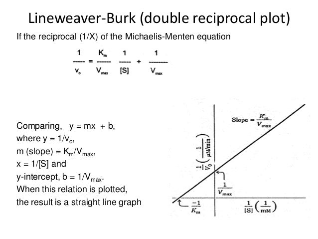 lineweaver burk plot find km and vmax relationship