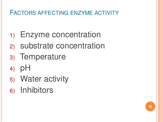 factors that affect enzyme activity Factors that change enzyme activity the concentration of hydrogen ions in a solution affects enzyme activity each enzyme.