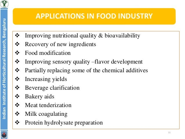 Application of Enzymes in food industry