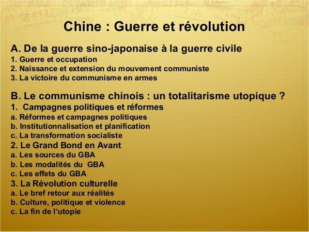 Chine:Guerreetrévolution A.Delaguerresino-japonaiseàlaguerrecivile 1.Guerreetoccupation 2.Naissanceetext...