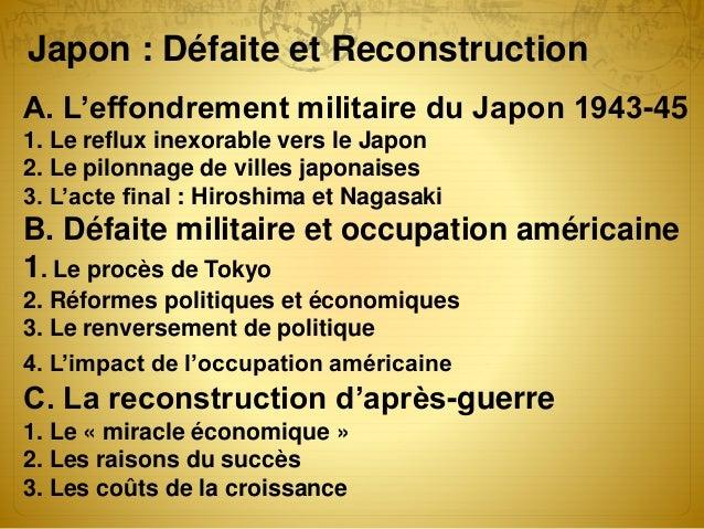 A. L'effondrement militaire du Japon 1943-45 1. Le reflux inexorable vers le Japon 2. Le pilonnage de villes japonaises 3....