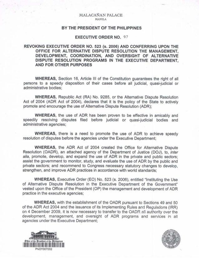 Malacanang Palace: Executive Order No. 97